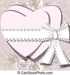 floraison, deux, attaché, arc, fond, cœurs, fleurs blanches...