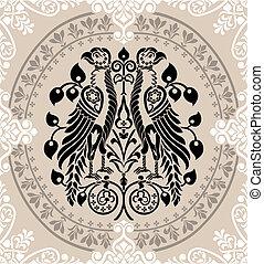 floral, águilas, heráldico, adornado, ornamentos