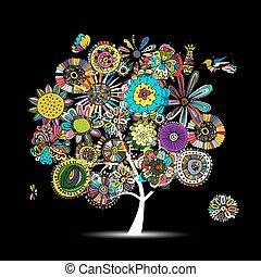 floral, árbol, bosquejo, para, su, diseño