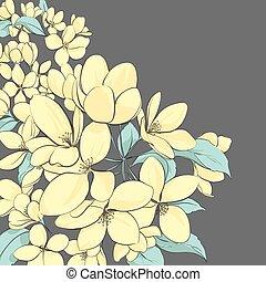 floral, árbol, manzana, plano de fondo
