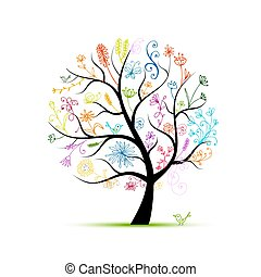 floral, árbol, para, su, diseño