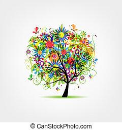 floral, árbol, verano, para, su, diseño
