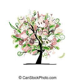 floral, árvore, desenho, seu