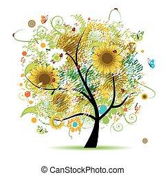 floral, árvore, girassóis, bonito