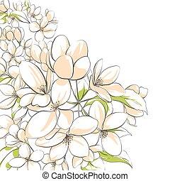floral, árvore, maçã, fundo