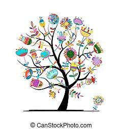 floral, árvore, para, seu, desenho