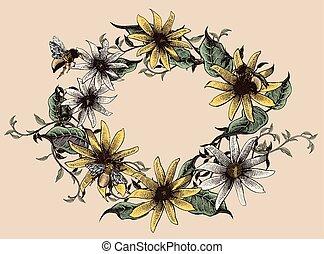 floral, élégant, conception, retro