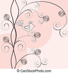 floral, élégant, fond