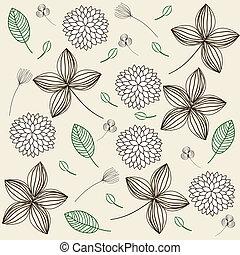floral, élégant, fond, vendange