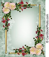 floral, élégant, invitation mariage