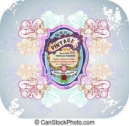 floral, élégant, vendange, étiquette