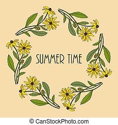 floral, été, cadre, fleurs