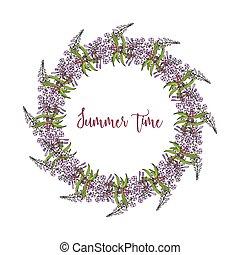 floral, été, cadre, fleurs, feuilles