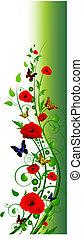 floral, été, cadre, vertical, multicolore