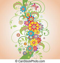 floral, été, frontière