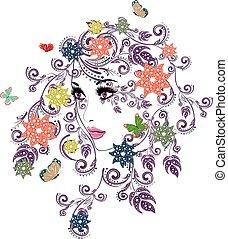 floral, été, girl