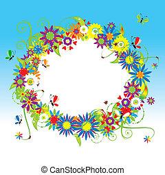 floral, été, illustration, cadre