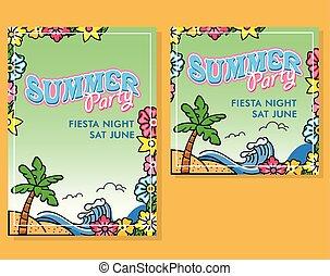 floral, été, vide, fête, affiche