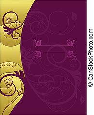 floral 1, vetorial, cartão, ilustração