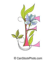 floral, 2., police, e, lettre