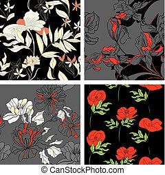 floral 3, ensemble, pattern., seamless