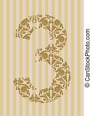 floral 3, nombre, font.