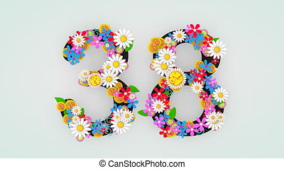 """floral, 38."""", animation, """"numerical, chiffre"""