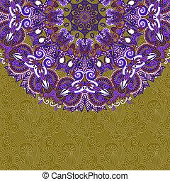 floral, aankondiging, cirkel, kaart, sierlijk