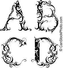 floral, abstração, letras