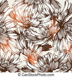 Floral abstract background, hand dr