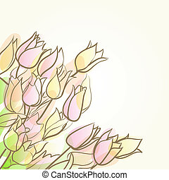 floral abstract background with tulips