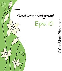 floral abstract background with white lily flower light green curves and spiral stem decorative vector template sample text