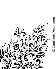 floral abstract decoration in black