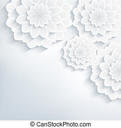 Floral abstract elegant background with 3d flowers