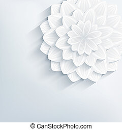 Floral abstract grey background with 3d flower