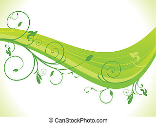 floral, abstract, groene, golf