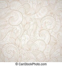 Floral abstract hand-drawn card. Vector seamless background.