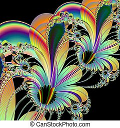 Floral Abstract o Black - Computer generated fractal image...