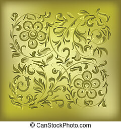 floral, abstract, ornament, achtergrond, goud