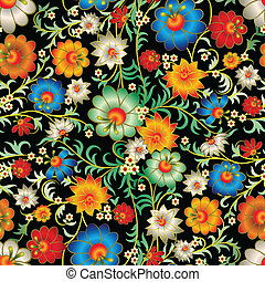 floral, abstract, ornament, seamless