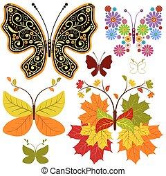 floral, abstract, set, vlinder