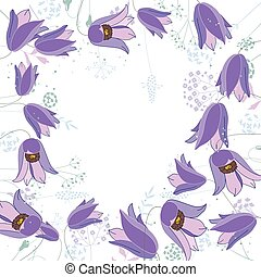 Floral abstract square template with stylized herbs and blue flowers. Silhouette of plants.