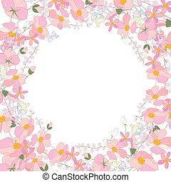 Floral abstract square template with stylized herbs and pink flowers.  Silhouette of plants.