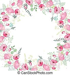 Floral abstract square template with stylized herbs and pink poppies
