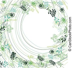 Floral abstract square template with stylized herbs and plants. Silhouette of plants.