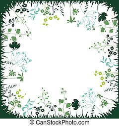 Floral abstract square template with stylized herbs and plants.  Silhouette of plants