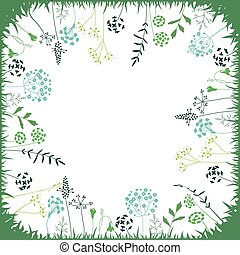 Floral abstract square template with stylized herbs and plants