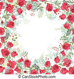 Floral abstract square template with stylized herbs and red roses.  Silhouette of plants.