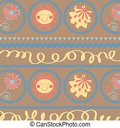 Floral abstract sun cute modern background, vector