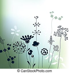 Floral abstract template with stylized herbs and plants